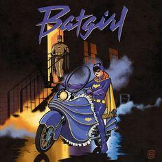 Prince's Purple Rain album cover with less Prince, more Batgirl.