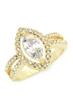 New Directions Gold Gold-Tone Cubic Zirconia Marquis Boxed Ring