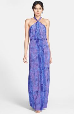Create height in a patterned maxi dress. Feel free to add a belt for a more defined waist.   T Bags Print Jersey Halter Maxi Dress available at #Nordstrom