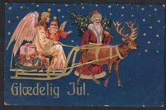 Glædelig jul Danmark Postkort Brugt u mærke
