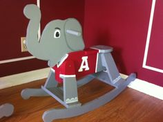 Alabama Rocky Elephant! Made with red or pink jersey for our Alabama fans. Or leave him with no jersey at all for a cute jungle themed nursery.