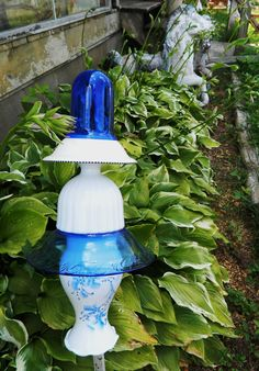 Repurposed Blue & White glass Garden Totem.