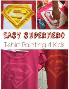 Easy Superhero T-Shirt Painting using a printed template and contact paper! Hero Crafts, Vbs Crafts, Preschool Crafts, Superhero Tshirt, Superhero Party, Superhero Room, Kids Shirts, T Shirts, Funny Christmas Movies