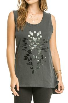 The Moonlight Tunis is a loose fitting premium jersey muscle tank with side slits and a slight high-low hem and fun geometric art printed at center front with foil.    Moonlight Tunic  by AMUSE SOCIETY. Clothing - Tops - Tees & Tanks Minnesota