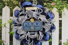Deco Mesh Wreath in Blue and White Police by SouthernCharmFlorals