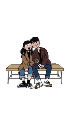Image discovered by Hyoorin. Find images and videos about girl, love and cute on We Heart It - the app to get lost in what you love. Cute Couple Drawings, Cute Couple Cartoon, Cute Couple Art, Cute Drawings, Cartoon Art Styles, Cartoon Drawings, Character Art, Character Design, Arte Sketchbook