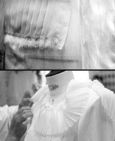 The making of Chanel Haute Couture. Step Two: The silk fabric is folded, draped, and pinned to a tailor's dummy. (Image via Telegraph online.)