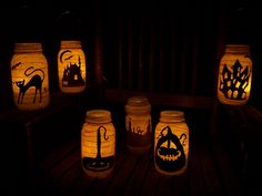 Primitive Halloween Witch Silhouette Lantern Candle Holder. $12.00, via Etsy.