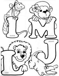 Embroidery Alphabet, Embroidery Patterns Free, Hand Embroidery Designs, Colouring Pics, Coloring For Kids, Coloring Books, Alfabeto Animal, Alphabet Templates, Alphabet Design
