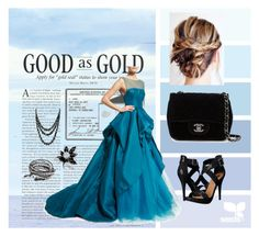 """""""Good as Gold"""" by hazreta-jahic ❤ liked on Polyvore featuring Monique Lhuillier, Michael Antonio, Chanel and Bling Jewelry"""