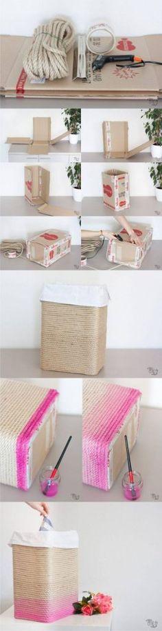 DIY Cardboard Rope Basket - one-o.it - Cesta con cartó Diy Storage, Diy Organization, Fabric Storage, Home Crafts, Diy Home Decor, Diy Karton, Diy Inspiration, Rope Basket, Creation Deco