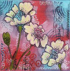 Susanne Rose - Papierkleckse: Flower Canvas