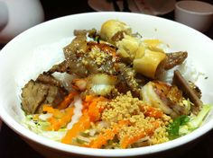 Sao Mai: Bun with grilled pork, grilled shrimp, spring rolls, crushed peanuts, and veggies.