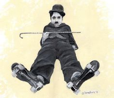 Charlie Chaplin Skates - Mixed media by Dean Huck on ARTwanted