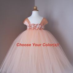 Peach Tutu Dress..Peach Flower Girl Dress..Girl by LovelyMadeGifts, $55.00 LOVE THIS ONE!!!! has a teal colored one!!!