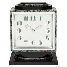 art deco clocks | Art Deco Verde Antico Marble Clock at 1stdibs