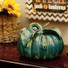 Distressed Turquoise Ceramic Pumpkin