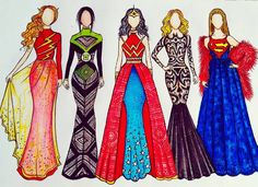 Flash, Green Lantern, Wonder Woman, Batman & Superman (Fashion by JoeslleyRocha Source by dresses drawing App Drawings, Kawaii Drawings, Disney Drawings, Cute Drawings, Dress Drawing, Drawing Clothes, Fashion Design Drawings, Fashion Sketches, Social Media Art