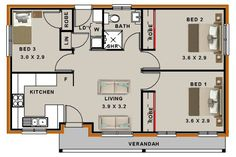 142 Best 3 Bedroom House plans images in 2019 | Bedroom ...