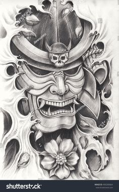 Find Samurai Warrior Tattoo Designhand Pencil Drawing stock images in HD and millions of other royalty-free stock photos, illustrations and vectors in the Shutterstock collection. Thousands of new, high-quality pictures added every day. Samurai Maske Tattoo, Samurai Warrior Tattoo, Warrior Tattoos, Japanese Mask Tattoo, Japanese Tattoo Designs, Japanese Warrior Tattoo, Japan Tattoo Design, Body Art Tattoos, Sleeve Tattoos