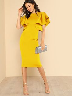 - Source by znihaltremblay - Modest Dresses, Elegant Dresses, Beautiful Dresses, Casual Dresses, Formal Dresses, Croquis Fashion, Chic Outfits, Fashion Outfits, Yellow Fashion