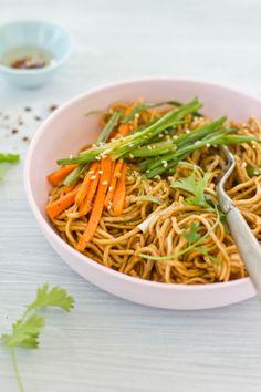 sesame egg noodle and stir fry vegetables