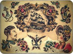 old school-inspired nautical tattoo flash (artist: claudia de sabe) Liking the people. Traditional Ink, Traditional Tattoo Flash, American Traditional, Flash Art Tattoos, Future Tattoos, Love Tattoos, Body Art Tattoos, Ink Tattoos, Tatoos