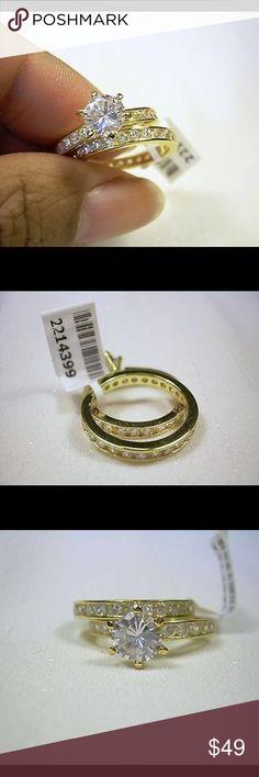 14K Yellow Gild Sterling Silver 8 Ring Set Jewelry Absolutely Stunning! Simulated Diamond Size 8 TGW: 2.700 cts Solid Sterling Silver with 14 K Yellow gold overlay Jewelry Rings