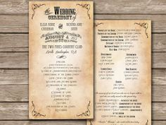 WEDDING PROGRAM Printable Wedding Program Template - Charleston Suite. $20.00, via Etsy.