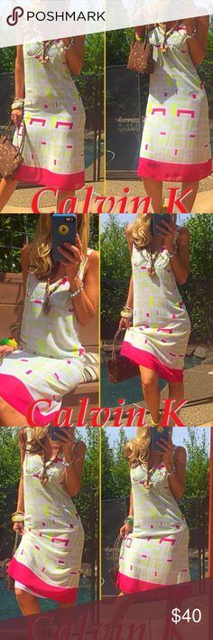 """🍋🍉Lemons and Limes and Watermelons, Oh My! 🍉🍋 Need a pop of color? Then this sweet Calvin Klein dress with a little bit of sour was made especially for YOU! The gauzy shell and lining, 100% poly, is color blocked in lemon yellow, lime green and deep watermelon pink! Gorgeous combination! A white background ensures that the colors are striking and unmistakable! 1"""" wide straps, 8"""" V bodice and 4"""" deep pink hem color block total 43"""" top to bottom. This dress will be a show stopper wherever…"""