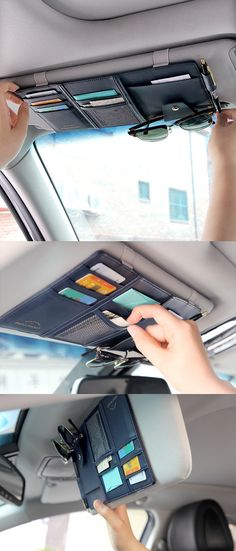 Tidy up every part of your life including your car! The beautiful Sun Visor Organizer is perfect for organizing your sunglasses, cards, and maps and more!