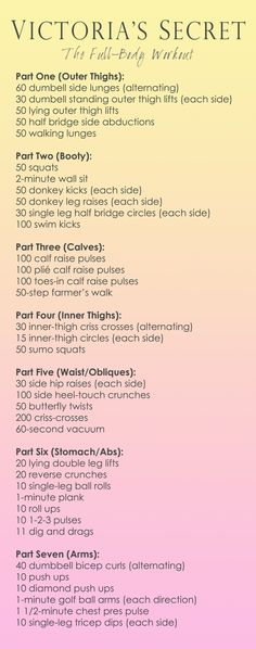Victoria's Secret Full body workout. Definitely trying this tomorrow.