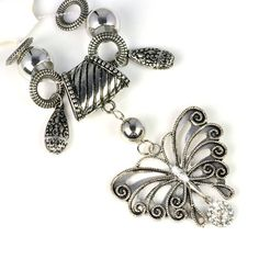 metal Alloy butterfly with rhinestones set pendant for DIY Scarves