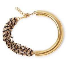 A statement bangle/ bracelet made of a goldplated brass hollow tube with beaded spinel chains. Natural, handcut gemstone with gold plated brass. Size: tube x with chains with adjustable links Black Gold Chain, Gold Chains, Betty Design, Bangle Bracelets, Bangles, Statement Earrings, Drop Earrings, Black Betty, Bracelet Making