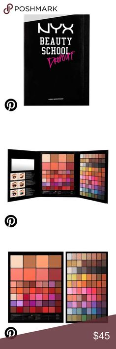 NYX Beauty School Dropout(Alumni) Flaunt your creative and savvy skills with the Beauty School Dropout Alumni collection. Achieve total complexion perfection using the 11 pressed pigments, four blushes, and four highlighting and contouring powders. Put your expertise to the test using both natural and bold shade selections from the 69 vibrant eyeshadows. With 40 creamy lip colors rounding out this set, there is an option for every look you create. Finally, a kit to complement your…