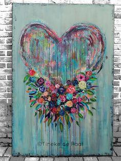 Tineke de Raat: Love is the finest flower that blooms in God's gar. Acrylic Art, Acrylic Painting Canvas, Heart Painting, Diy Canvas Art, Heart Art, Heart Canvas, Mural Art, Art Techniques, Painting Inspiration