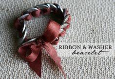 washer and ribbon bracelet jewelry tutorial