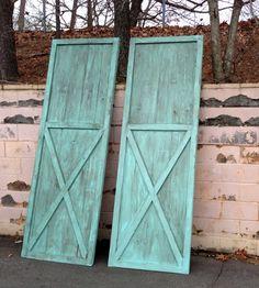 Vintage Blue Stained Wood Barn Door
