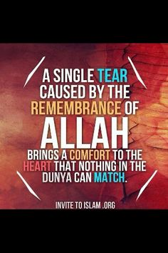 A single Tear caused by the Rememberance of Allah brings comfort to the Heart, that no other thing in the world can. Alhamdulillah