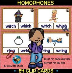 Homophones Clip Cards