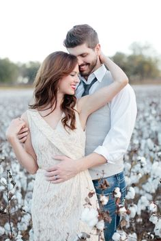 pose in a cotton field
