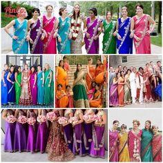 16 Bridesmaid Saris to Dazzle Your Indian Fusion Wedding - bridesmaid sarees in rainbow colors