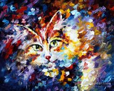 CAT 2 — Palette knife Oil Painting on Canvas by Leonid Afremov - Size discount coupon - on Wanelo Oil Painting Texture, Oil Painting Abstract, Abstract Canvas, Painting Tips, Painting Art, Watercolor Art, Canvas Wall Art, Oil On Canvas, Big Canvas