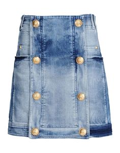 Balmain: Distressed Denim Skirt