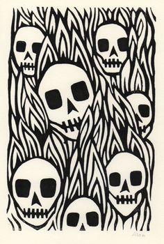 Lino Cut skull by Alan Rogerson Crane, Graffiti, Stamp Carving, Linoprint, Danse Macabre, Linocut Prints, Unique Art, Printmaking, Illustration