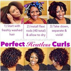 Heartless Curls on Natural Hair Flexi Rods Pelo Natural, Natural Hair Tips, Natural Hair Journey, Natural Hair Styles, Going Natural, Natural Beauty, Au Natural, Natural Curls, Black Power