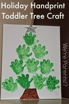 Super easy to do Holiday Craft with your Toddler. Make a Christmas Tree craft, the perfect gift for grandparents, using mostly things around your house!