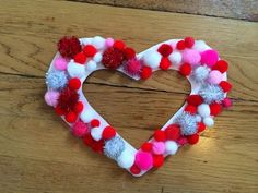 Pompoms Heart Decoration For Valentines Day