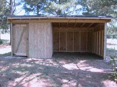 10X20 SHELTER WITH TACKROOM. Raleigh local shed builder. I love this idea of having the small tack room attached to the horse shelter. This plus a good amount of fencing and any horse would be snug as a bug.