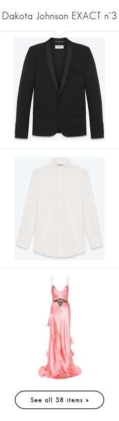 """""""Dakota Johnson EXACT n°3"""" by clo-egral on Polyvore featuring outerwear, jackets, yves saint laurent jacket, yves saint laurent, dinner jacket, satin jackets, shawl dinner jacket, tops, shirt top et collared shirt"""